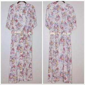 Vintage Cottagecore Dress Floral 80s Belted Pleats